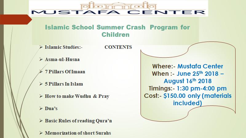 Islamic School Summer Crash Program For Children